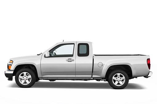 AUT 14 IZ0102 01 © Kimball Stock 2011 GMC Canyon SLE Pickup Truck Silver Profile View Studio