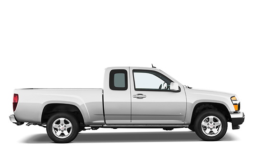AUT 14 IZ0103 01 © Kimball Stock 2011 GMC Canyon SLE Pickup Truck Silver Profile View Studio