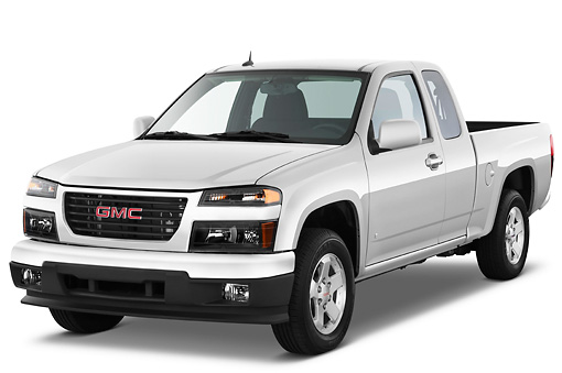 AUT 14 IZ0104 01 © Kimball Stock 2011 GMC Canyon SLE Pickup Truck Silver 3/4 Front View Studio