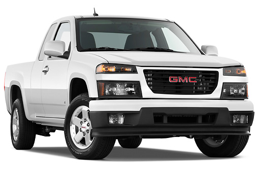 AUT 14 IZ0105 01 © Kimball Stock 2011 GMC Canyon SLE Pickup Truck Silver 3/4 Front View Studio