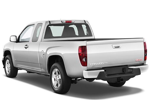 AUT 14 IZ0107 01 © Kimball Stock 2011 GMC Canyon SLE Pickup Truck Silver 3/4 Rear View Studio