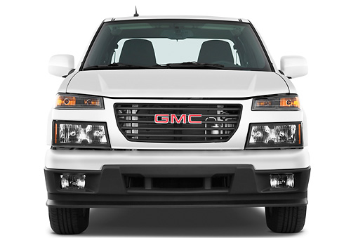 AUT 14 IZ0109 01 © Kimball Stock 2011 GMC Canyon SLE Pickup Truck Silver Front View Studio