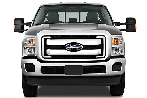 AUT 14 IZ0123 01 © Kimball Stock 2013 Ford F-250 SD Crew Cab 4X4 Pickup Truck Silver Front View On White Seamless