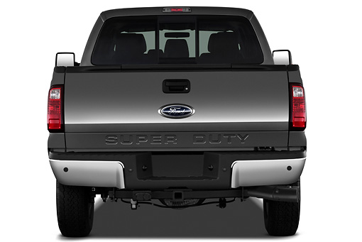 AUT 14 IZ0124 01 © Kimball Stock 2013 Ford F-250 SD Crew Cab 4X4 Pickup Truck Silver Rear View On White Seamless