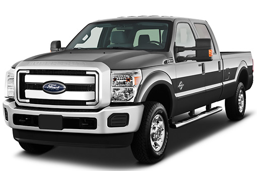 AUT 14 IZ0125 01 © Kimball Stock 2013 Ford F-250 SD Crew Cab 4X4 Pickup Truck Silver 3/4 Front View On White Seamless