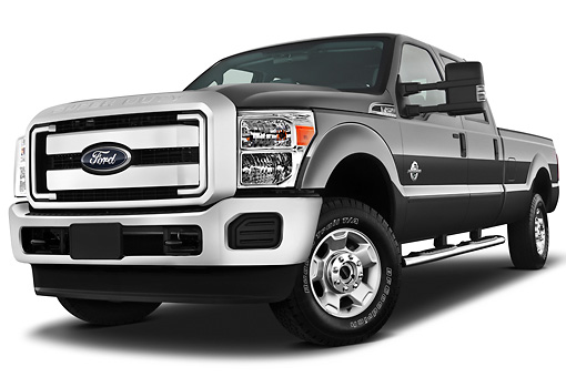 AUT 14 IZ0127 01 © Kimball Stock 2013 Ford F-250 SD Crew Cab 4X4 Pickup Truck Silver 3/4 Front View On White Seamless