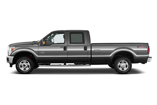 AUT 14 IZ0129 01 © Kimball Stock 2013 Ford F-250 SD Crew Cab 4X4 Pickup Truck Silver Profile View On White Seamless