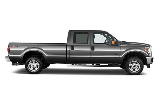AUT 14 IZ0130 01 © Kimball Stock 2013 Ford F-250 SD Crew Cab 4X4 Pickup Truck Silver Profile View On White Seamless