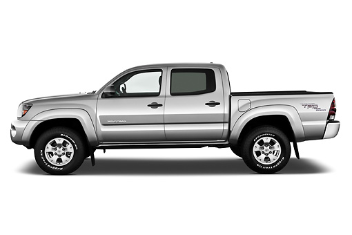AUT 14 IZ0139 01 © Kimball Stock 2011 Toyota Tacoma PreRunner Off Road Double Cab Silver Profile View On White Seamless