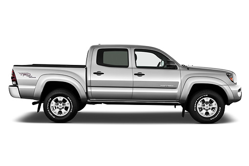 AUT 14 IZ0140 01 © Kimball Stock 2011 Toyota Tacoma PreRunner Off Road Double Cab Silver Profile View On White Seamless