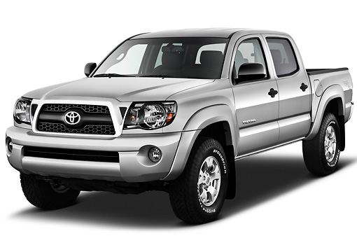 AUT 14 IZ0141 01 © Kimball Stock 2011 Toyota Tacoma PreRunner Off Road Double Cab Silver 3/4 Front View On White Seamless