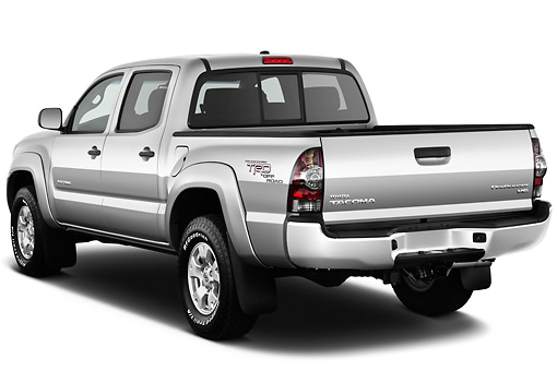 AUT 14 IZ0144 01 © Kimball Stock 2011 Toyota Tacoma PreRunner Off Road Double Cab Silver 3/4 Rear View On White Seamless
