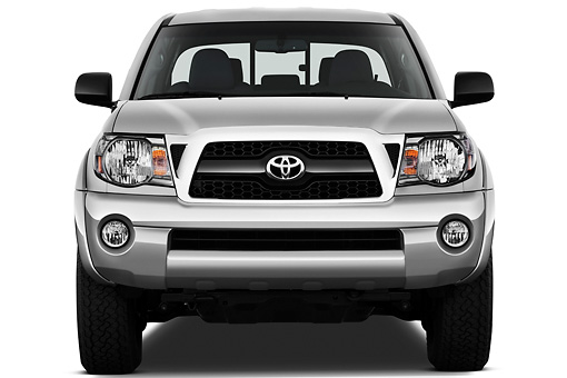 AUT 14 IZ0145 01 © Kimball Stock 2011 Toyota Tacoma PreRunner Off Road Double Cab Silver Front View On White Seamless
