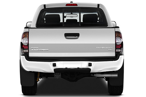 AUT 14 IZ0146 01 © Kimball Stock 2011 Toyota Tacoma PreRunner Off Road Double Cab Silver Rear View On White Seamless