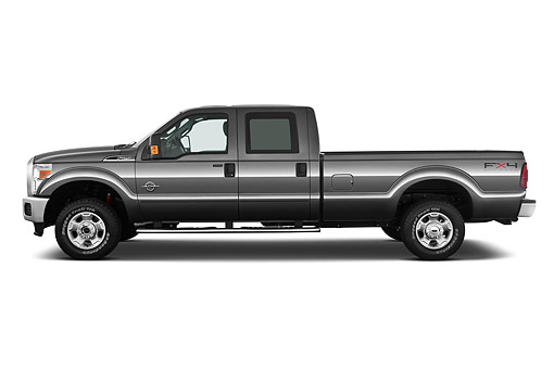 AUT 14 IZ0167 01 © Kimball Stock 2011 Ford F-250 SD Crew Cab 4X4 Pickup Truck Gray Profile View On White Seamless