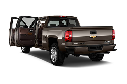 AUT 14 IZ0168 01 © Kimball Stock 2015 Chevrolet Silverado 1500 High Country Crew Cab Standard Box 4-Door Truck 3/4 Rear View In Studio