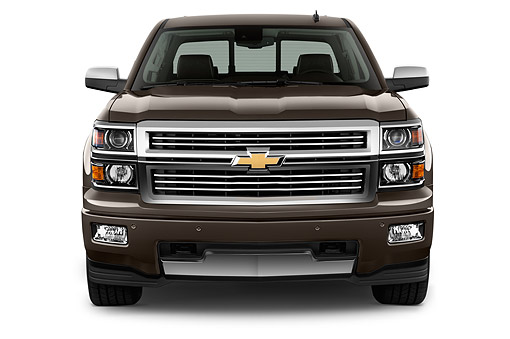 AUT 14 IZ0169 01 © Kimball Stock 2015 Chevrolet Silverado 1500 High Country Crew Cab Standard Box 4-Door Truck Front View In Studio