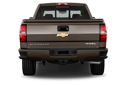 AUT 14 IZ0170 01 © Kimball Stock 2015 Chevrolet Silverado 1500 High Country Crew Cab Standard Box 4-Door Truck Rear View In Studio