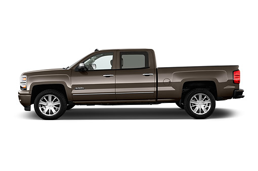 AUT 14 IZ0171 01 © Kimball Stock 2015 Chevrolet Silverado 1500 High Country Crew Cab Standard Box 4-Door Truck Profile View In Studio