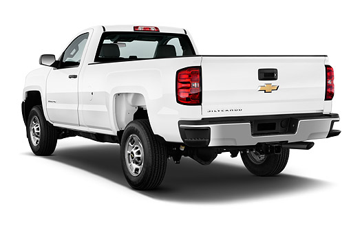 AUT 14 IZ0181 01 © Kimball Stock 2015 Chevrolet Silverado 2500 HD Work Truck Regular Cab LWB 2-Door 3/4 Rear View In Studio