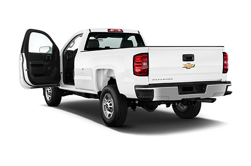 AUT 14 IZ0182 01 © Kimball Stock 2015 Chevrolet Silverado 2500 HD Work Truck Regular Cab LWB 2-Door 3/4 Rear View In Studio