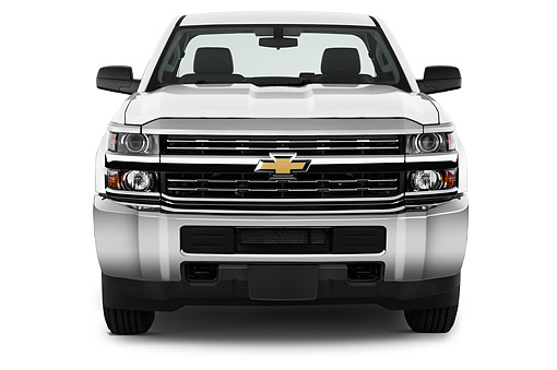 AUT 14 IZ0183 01 © Kimball Stock 2015 Chevrolet Silverado 2500 HD Work Truck Regular Cab LWB 2-Door Front View In Studio