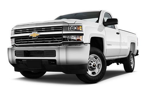 AUT 14 IZ0184 01 © Kimball Stock 2015 Chevrolet Silverado 2500 HD Work Truck Regular Cab LWB 2-Door 3/4 Front View In Studio