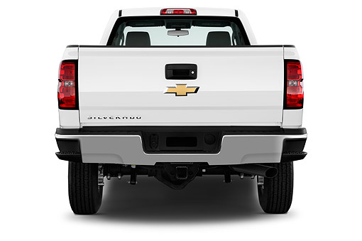 AUT 14 IZ0185 01 © Kimball Stock 2015 Chevrolet Silverado 2500 HD Work Truck Regular Cab LWB 2-Door Rear View In Studio