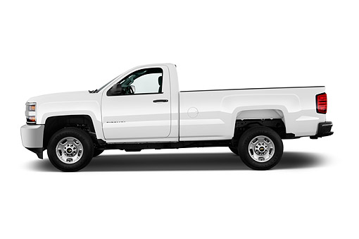 AUT 14 IZ0186 01 © Kimball Stock 2015 Chevrolet Silverado 2500 HD Work Truck Regular Cab LWB 2-Door Profile View In Studio