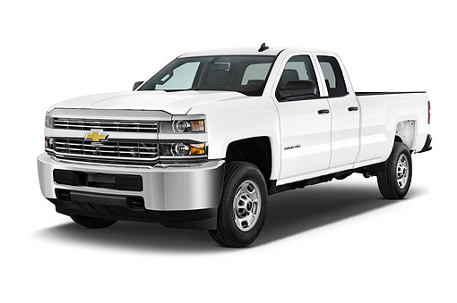 AUT 14 IZ0201 01 © Kimball Stock 2015 Chevrolet Silverado 2500 HD Work Truck Double Cab LWB 4-Door 3/4 Front View In Studio