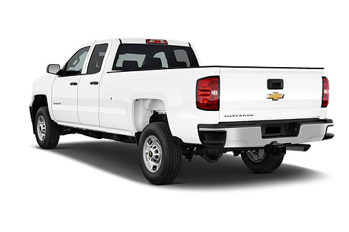 AUT 14 IZ0202 01 © Kimball Stock 2015 Chevrolet Silverado 2500 HD Work Truck Double Cab LWB 4-Door 3/4 Rear View In Studio
