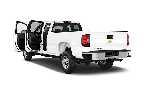 AUT 14 IZ0203 01 © Kimball Stock 2015 Chevrolet Silverado 2500 HD Work Truck Double Cab LWB 4-Door 3/4 Rear View In Studio