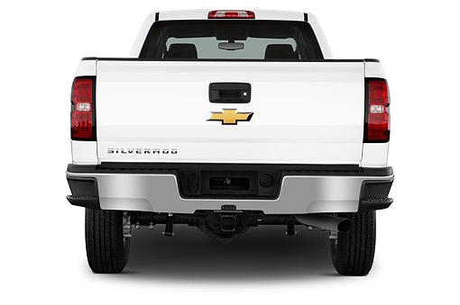 AUT 14 IZ0205 01 © Kimball Stock 2015 Chevrolet Silverado 2500 HD Work Truck Double Cab LWB 4-Door Rear View In Studio