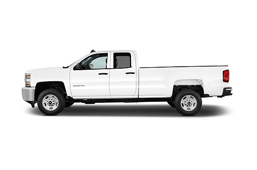AUT 14 IZ0206 01 © Kimball Stock 2015 Chevrolet Silverado 2500 HD Work Truck Double Cab LWB 4-Door Profile View In Studio