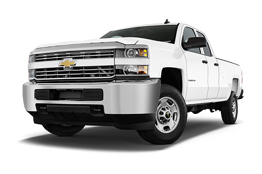 AUT 14 IZ0207 01 © Kimball Stock 2015 Chevrolet Silverado 2500 HD Work Truck Double Cab LWB 4-Door Low 3/4 Front View In Studio