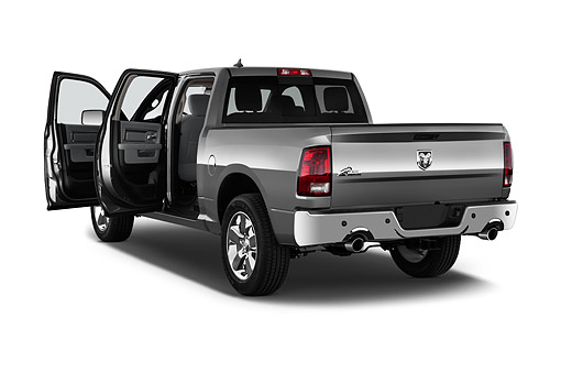 AUT 14 IZ0210 01 © Kimball Stock 2015 Ram 1500 Big Horn Lone Star Crew Cab 4-Door Truck 3/4 Rear View In Studio
