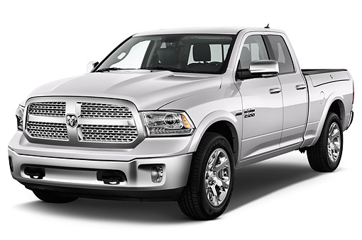 AUT 14 IZ0222 01 © Kimball Stock 2015 Ram 1500 Laramie Quad Cab 4-Door Truck 3/4 Front View In Studio