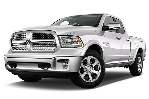 AUT 14 IZ0228 01 © Kimball Stock 2015 Ram 1500 Laramie Quad Cab 4-Door Truck Low 3/4 Front View In Studio
