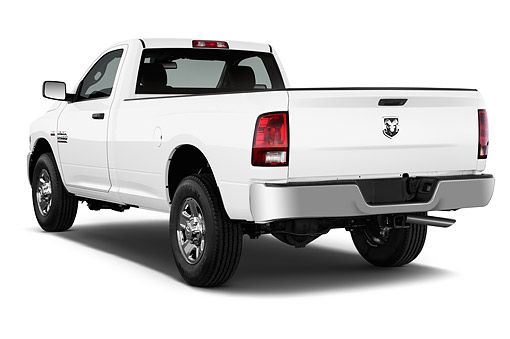 AUT 14 IZ0244 01 © Kimball Stock 2015 Ram 2500 Tradesman Regular Cab SWB 2-Door Truck 3/4 Rear View In Studio