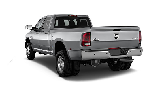 AUT 14 IZ0251 01 © Kimball Stock 2015 Ram 3500 Big Horn Lone Star Crew Cab SWB 4-Door Truck 3/4 Rear View In Studio