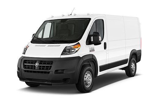 AUT 14 IZ0257 01 © Kimball Stock 2015 Ram Promaster Cargo Van 1500 136 WB Low Roof 4-Door 3/4 Front View In Studio