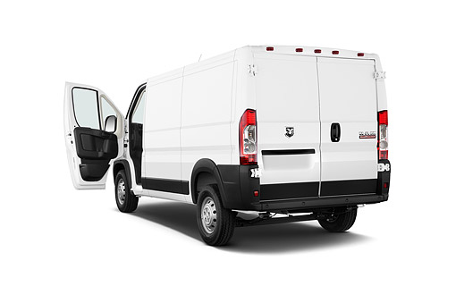 AUT 14 IZ0259 01 © Kimball Stock 2015 Ram Promaster Cargo Van 1500 136 WB Low Roof 4-Door 3/4 Rear View In Studio