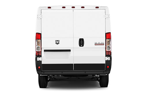 AUT 14 IZ0261 01 © Kimball Stock 2015 Ram Promaster Cargo Van 1500 136 WB Low Roof 4-Door Rear View In Studio
