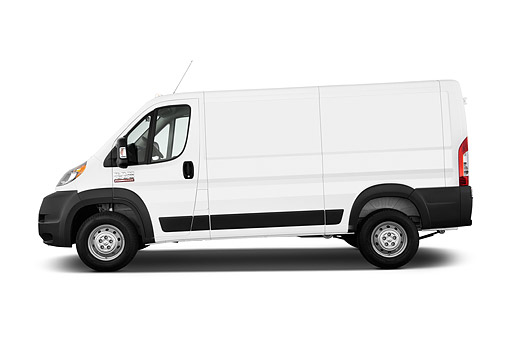 AUT 14 IZ0262 01 © Kimball Stock 2015 Ram Promaster Cargo Van 1500 136 WB Low Roof 4-Door Profile View In Studio