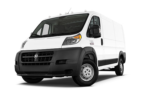 AUT 14 IZ0263 01 © Kimball Stock 2015 Ram Promaster Cargo Van 1500 136 WB Low Roof 4-Door Low 3/4 Front View In Studio
