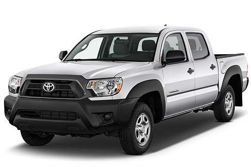 AUT 14 IZ0271 01 © Kimball Stock 2015 Toyota Tacoma Doublecab AT 4-Door Truck 3/4 Front View In Studio