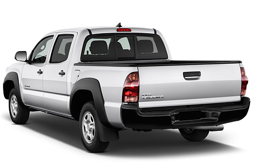 AUT 14 IZ0272 01 © Kimball Stock 2015 Toyota Tacoma Doublecab AT 4-Door Truck 3/4 Rear View In Studio