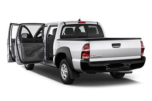 AUT 14 IZ0273 01 © Kimball Stock 2015 Toyota Tacoma Doublecab AT 4-Door Truck 3/4 Rear View In Studio
