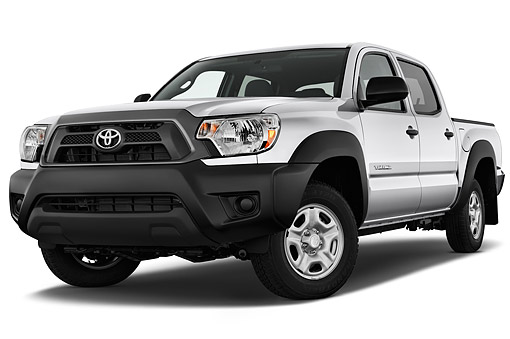 AUT 14 IZ0277 01 © Kimball Stock 2015 Toyota Tacoma Doublecab AT 4-Door Truck Low 3/4 Front View In Studio