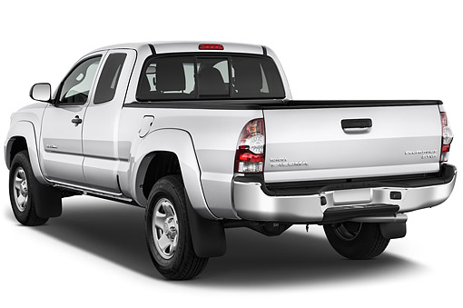 AUT 14 IZ0279 01 © Kimball Stock 2015 Toyota Tacoma Prerunner Access Cab AT 4-Door Truck 3/4 Rear View In Studio